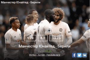 Прогноз БК «Леон» на матч Манчестер Юнайтед – Бернли
